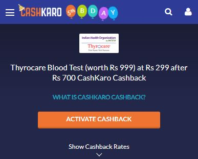 IHO Thyrocare CashKaro