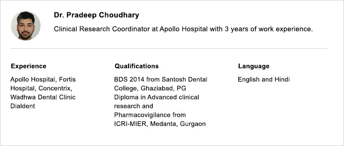 Dr. Pradeep Choudhary Clinical Research Coordinator at Apollo Hospital with 3 Years of Work Experience