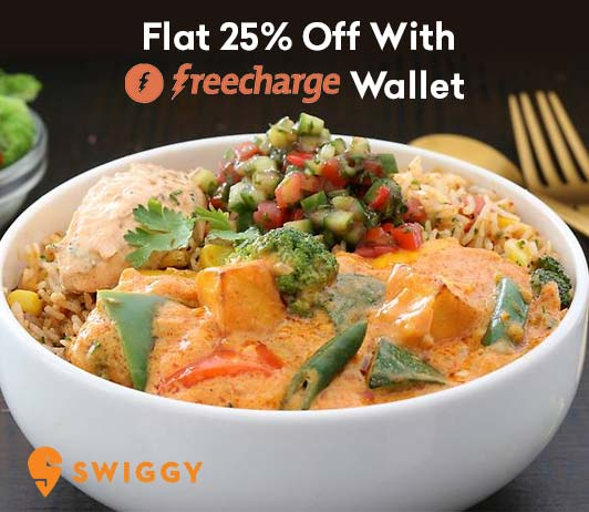 Swiggy Freecharge Offer Flat 25 Percent Off
