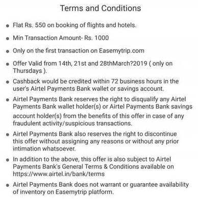 EaseMyTrip Airtel Offer