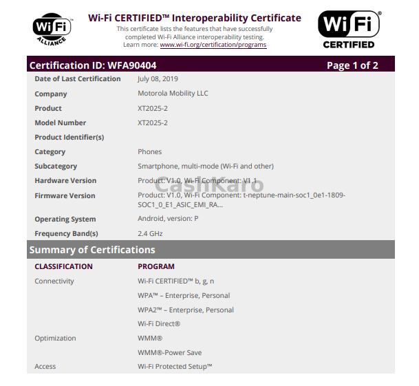 Motorola XT2025-2 Certification