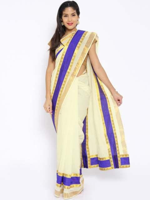 Darpanas Fashions Off-White Cotton Kasavu Traditional Saree