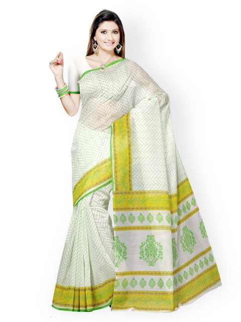 Triveni Off-White & Green Printed Cotton Traditional Saree