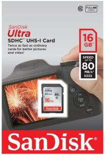 Sandisk Ultra 16GB SDHC 80MB/S Class10 Memory Card