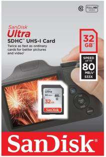 Sandisk SDSDUNC-032G-GN6IN Ultra 32GB Class10 80MB/s SDHC Memory Card