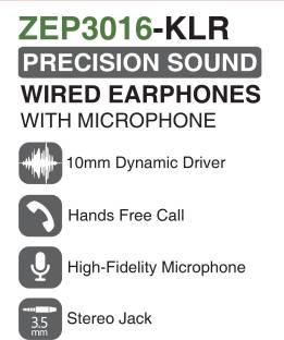 ZAZZ ZEP3016-KLR Precision Sound Earphones