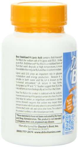 Doctor'S Best Stabilized R Lipoic Acid 100 mg Supplements (60 Capsules)