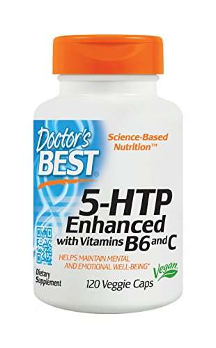 Doctor's Best 5 Htp Enhanced Dietary Supplement with Vitamins B6 and C (120 veggie Capsules)