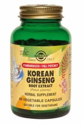 Solgar Standardized Full Potency Korean Ginseng Root Extract Supplements (60 Capsules)