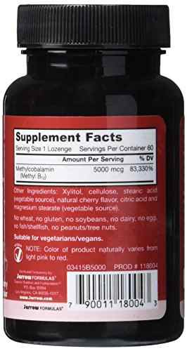 Jarrow Formulas Methyl B-12 5000 mcg Supplement (60 Lozenges)