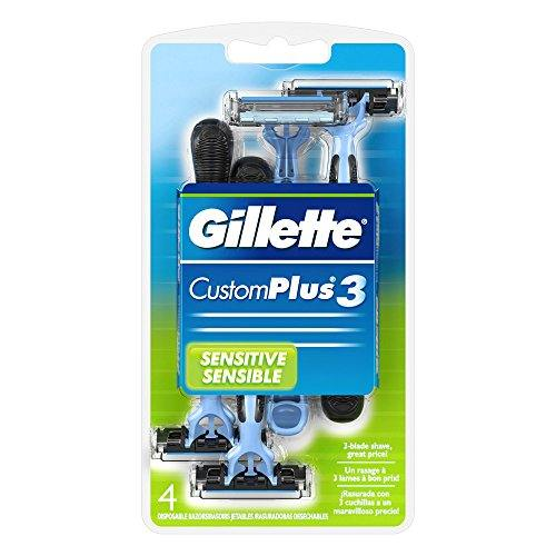 Gillette Customplus 3 Sensitive Disposable Razors, 4 Each