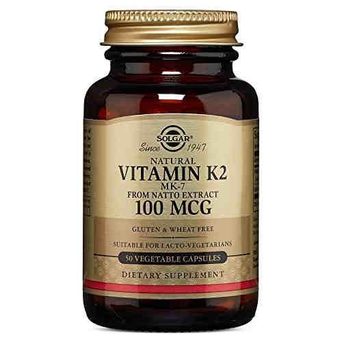 Solgar Natural Vitamin K2, MK 7 100 mcg Supplements (50 Veg Capsules)