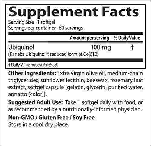 Doctor'S Best Ubiquinol Featuring Kanekas Qh 100mg Supplements (60 Capsules)
