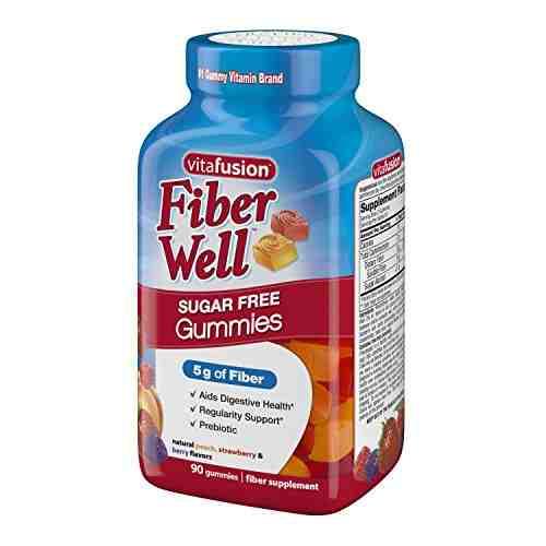 Vitafusion Fiber Sugar Free Supplement (90 Gummies, Strwberry, Blackberry)