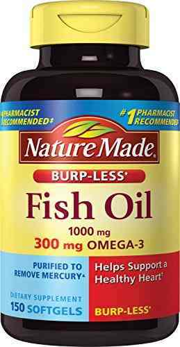 Nature Made Burp-less Fish Oil 1000 mg Omega-3 300mg Supplement (150 Capsules)