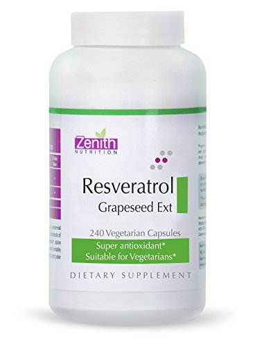 Zenith Nutrition Resveratrol 100mg And Grape Seed Extract Supplements (240 Capsules)