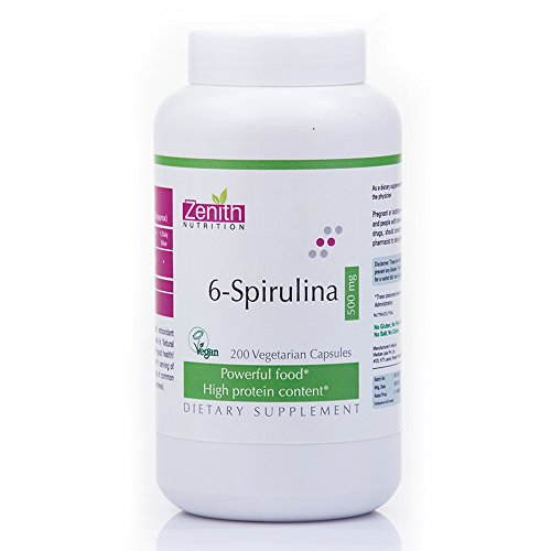 Zenith Nutrition 6 Spirulina 500 mg Supplements (300 Capsules)