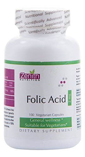 Zenith Nutrition Folic Acid 2000 Supplements (100 Capsules)