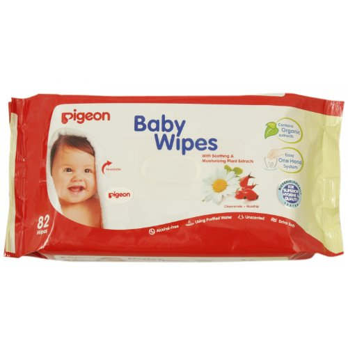 Pigeon Baby Wipes, Cham and Rose (Refill) 82 Wipes