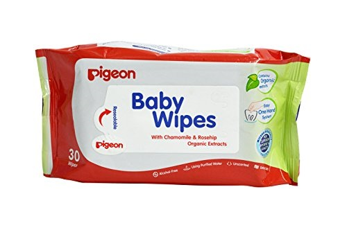 Pigeon Chamomile & Rose Baby Wipes, 30 Pieces