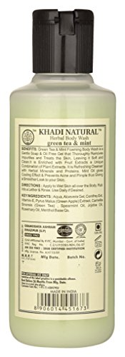 Khadi Green Tea and Mint Body Wash SLS and Paraben Free, 210ml