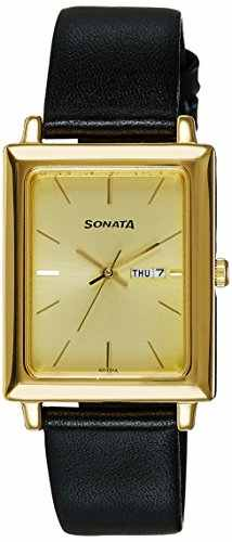 Sonata NG7078YL04 Fiber Collection Analog Gold Dial Men's Watch (NG7078YL04)