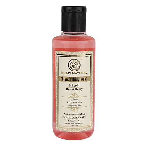 Khadi Rose And Honey Body Wash SLS and Paraben Free, 210ml