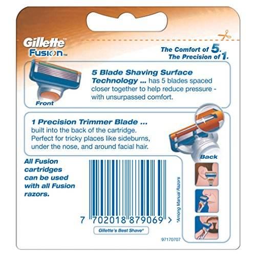 Gillette Fusion Manual Shaving Razor Blades  4s Pack Cartridge