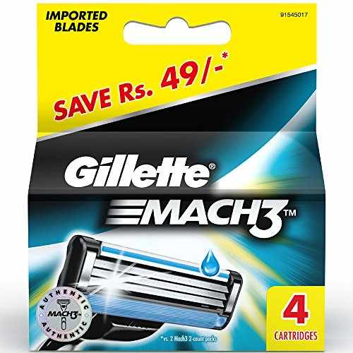 Gillette Mach 3 Manual Shaving Razor Blades, 4 Cartridges