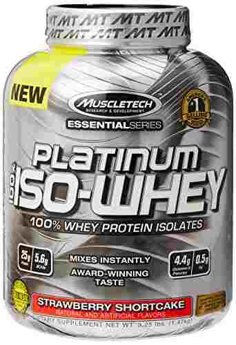 Muscletech Essential Series Platinum 100% Iso Whey (1.47Kg, Strawberry)