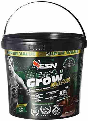 Esn Fast Grow Mass Gainer (5Kg, Chocolate)
