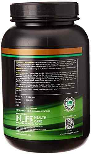Inlife Mass Gainer Powder (908gm / 2lbs, Chocolate)