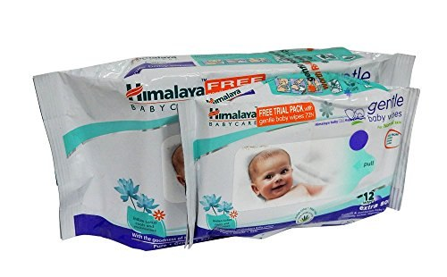 Himalaya Gentle Baby Wipes, 72 Pieces (Free 12 Pieces)