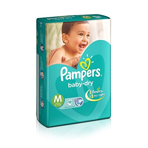 Pampers Baby Dry Diapers, M 10 Pieces