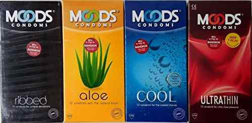 Moods Ribbed, Aloe, Cool and Ultra Thin Comdoms (48 Condoms)