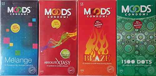 Moods Melange Absolute Xtasy Blaze and 1500 Dots Comdoms (48 Condoms)
