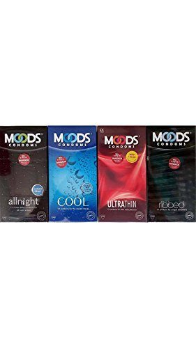 Moods All Night Ribbed Cool and Ultra Thin Comdoms (48 Condoms)
