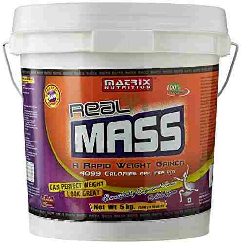 Matrix Nutrition Real Mass Weight Gainer (5Kg, Chocolate)