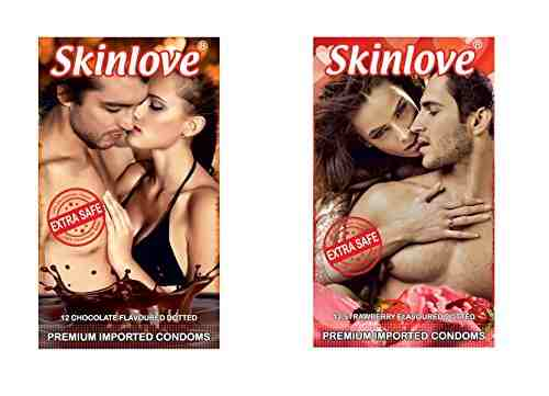 Skinlove Dotted Chocolate and Strawberry Condoms (24 Condoms)