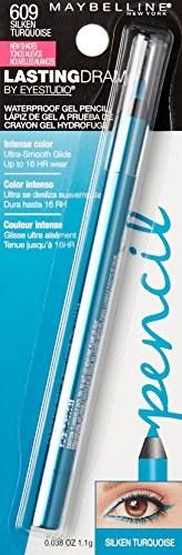 Maybelline Eyestudio Lasting Drama Waterproof Gel Pencil, 609 Silken Turquoise 1.1 g(609 Silken Turquoise)