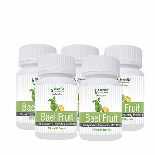Bhumija Lifesciences Bael Fruit 250mg Supplement (60 Capsules) - Pack Of 5