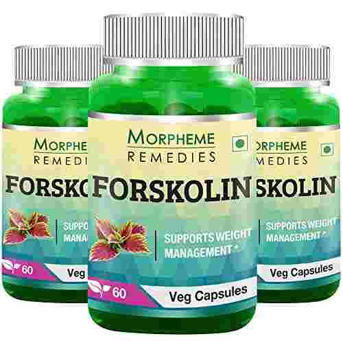 Morpheme Remedies Forskolin 20% Coleus Forskohlii Extract 500mg (60 Veg Capsules, 3 Bottles)