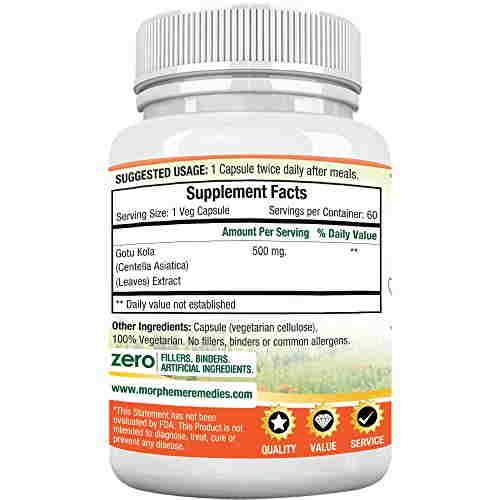 Morpheme Remedies Gotu Kola Extract 500mg (60 Capsules)