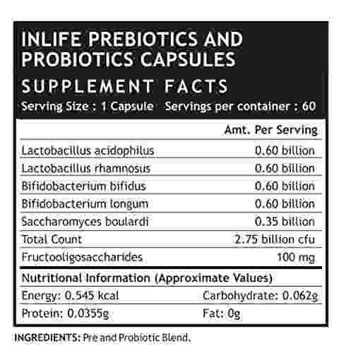 Inlife Prebiotics and Probiotics Digestion Acidity Supplement (60 Capsules, Pack of 3)
