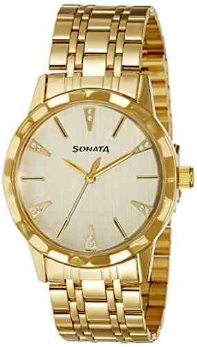 Sonata Champagne 7113YM02 Analog Watch