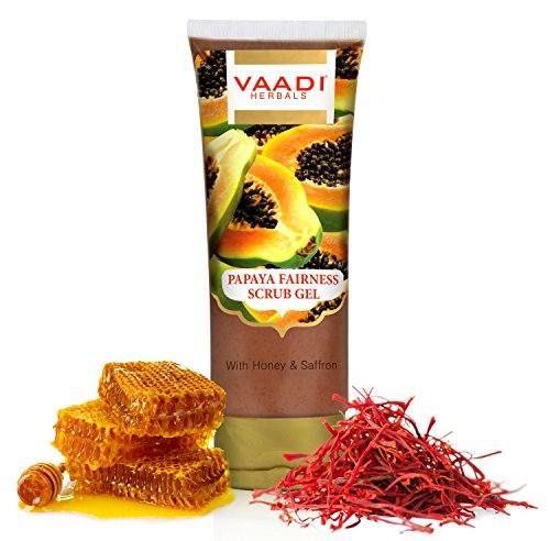 Vaadi Herbals Papaya Fairness Honey & Saffron Face Scrub Gel (110ml)