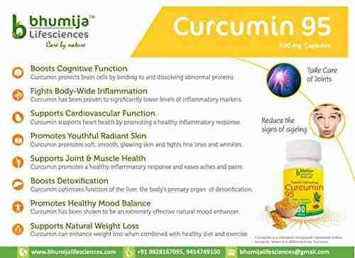 Bhumija Lifesciences Curcumin 95 Supplements (30 Capsules, Pack of 4)