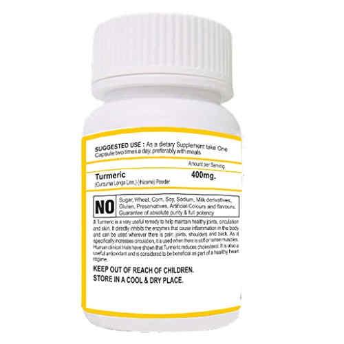 Bhumija Lifesciences Turmeric 400mg Supplements (60 Capsules, Pack of 2)