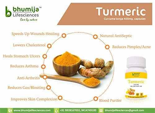 Bhumija Lifesciences Turmeric 400mg Supplements (60 Capsules, Pack of 3)