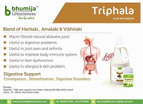 Bhumija Lifesciences Triphala 250mg Supplements (60 Capsules)